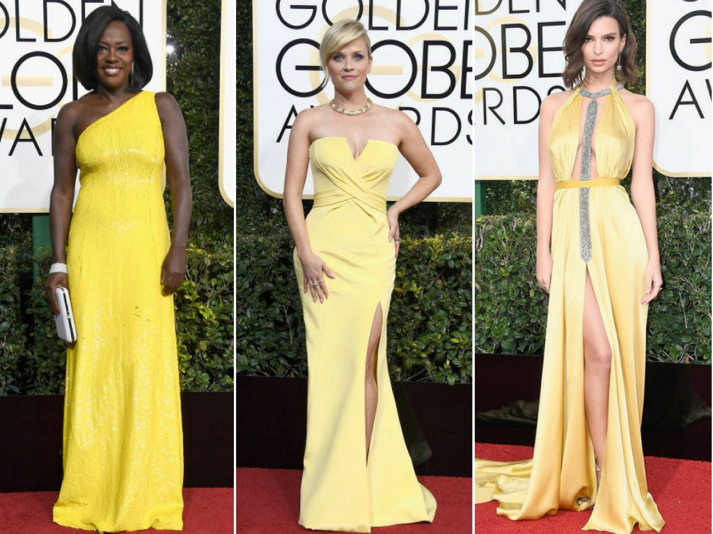 viola davis yellow dress golden glbes 2017