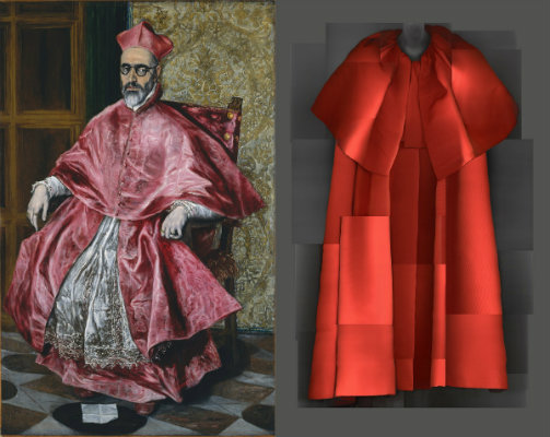 """Heavenly Bodies: Fashion and the Catholic Imagination"" Left: El Greco, Cardinal Fernando Niño de Guevara (1541–1609), c. 1600, oil on canvas; right: Evening Coat, Cristóbal Balenciaga for Balenciaga, Autumn/Winter 1954–55"