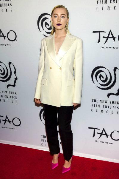 saoirse ronan in calvin klein at 2017 New York Film Critics' Awards